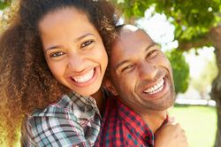 Couple with straight, white, attractive teeth